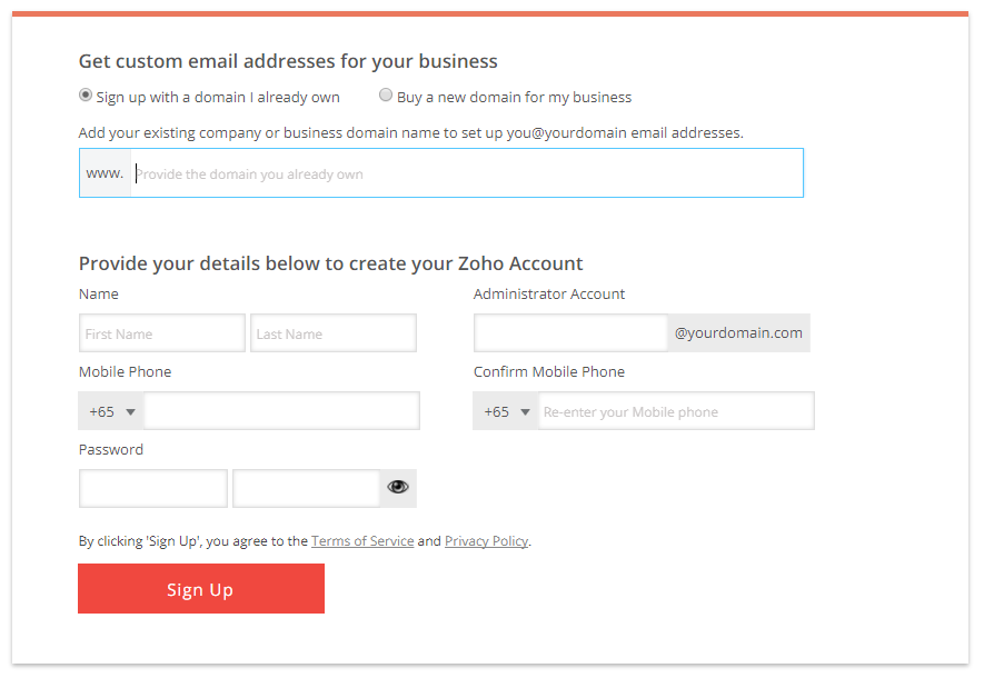 Zoho Mail Sign Up